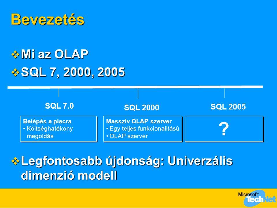 Bevezetés  Mi az OLAP  SQL 7, 2000, 2005  Legfontosabb újdonság: Univerzális dimenzió modell SQL 7.0 SQL 2005 Belépés a piacra •Költséghatékony megoldás Belépés a piacra •Költséghatékony megoldás SQL 2000 Masszív OLAP szerver •Egy teljes funkcionalitású •OLAP szerver Masszív OLAP szerver •Egy teljes funkcionalitású •OLAP szerver .