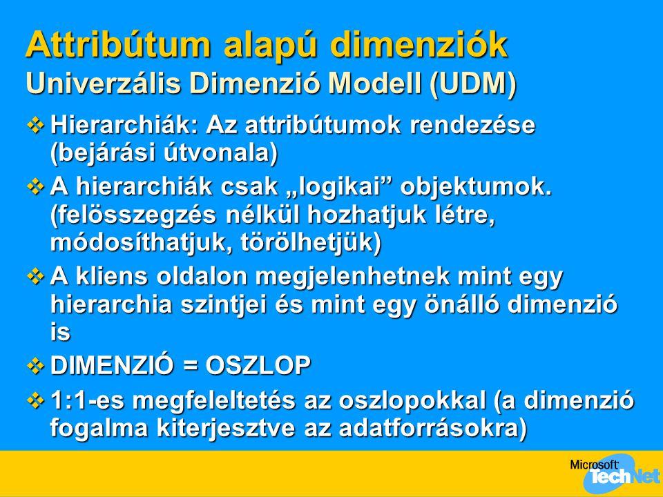 """Attribútum alapú dimenziók Univerzális Dimenzió Modell (UDM)  Hierarchiák: Az attribútumok rendezése (bejárási útvonala)  A hierarchiák csak """"logikai objektumok."""
