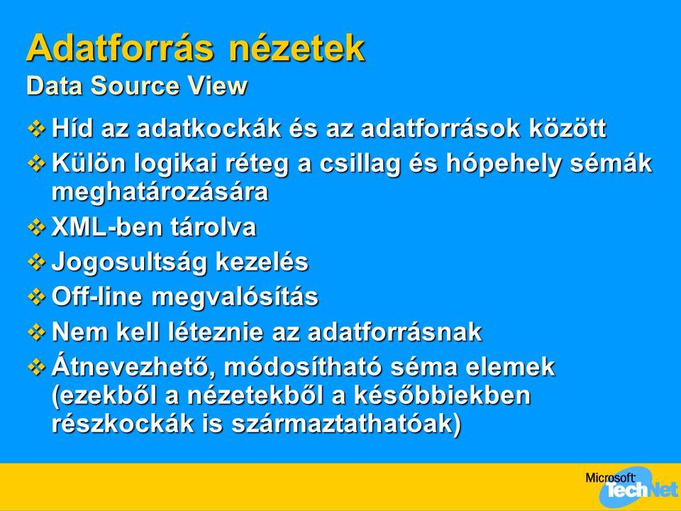 Adatforrás nézetek Data Source View  Híd az adatkockák és az adatforrások között  Külön logikai réteg a csillag és hópehely sémák meghatározására  XML-ben tárolva  Jogosultság kezelés  Off-line megvalósítás  Nem kell léteznie az adatforrásnak  Átnevezhető, módosítható séma elemek (ezekből a nézetekből a későbbiekben részkockák is származtathatóak)