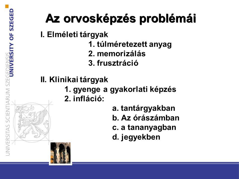 Az orvosképzés problémái I. Elméleti tárgyak 1. túlméretezett anyag 2.