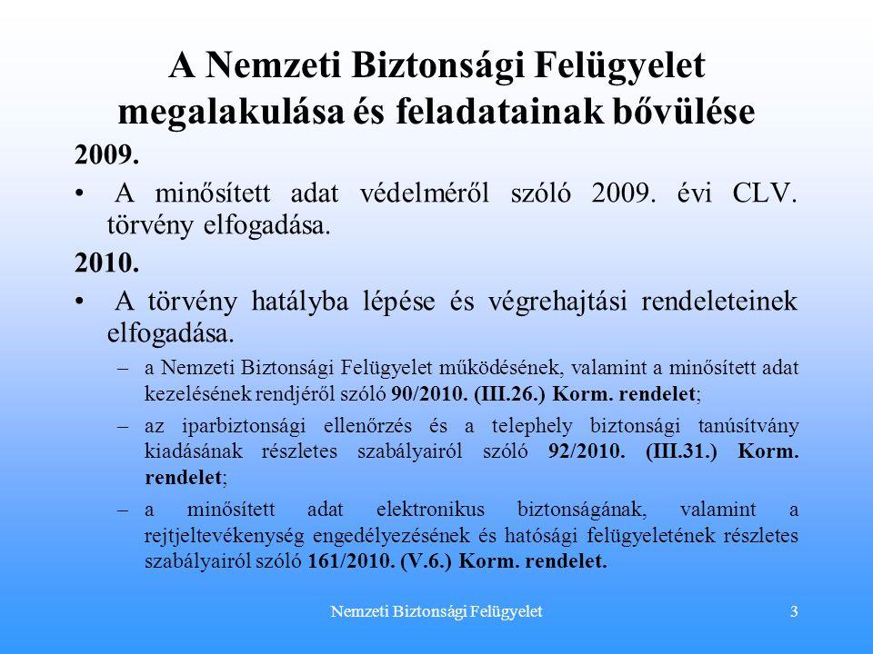 A Nemzeti Biztonsági Felügyelet megalakulása és feladatainak bővülése 2009. • A minősített adat védelméről szóló 2009. évi CLV. törvény elfogadása. 20