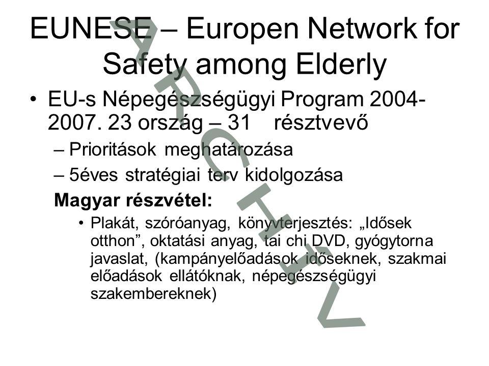 EUNESE – Europen Network for Safety among Elderly •EU-s Népegészségügyi Program 2004- 2007. 23 ország – 31 résztvevő –Prioritások meghatározása –5éves