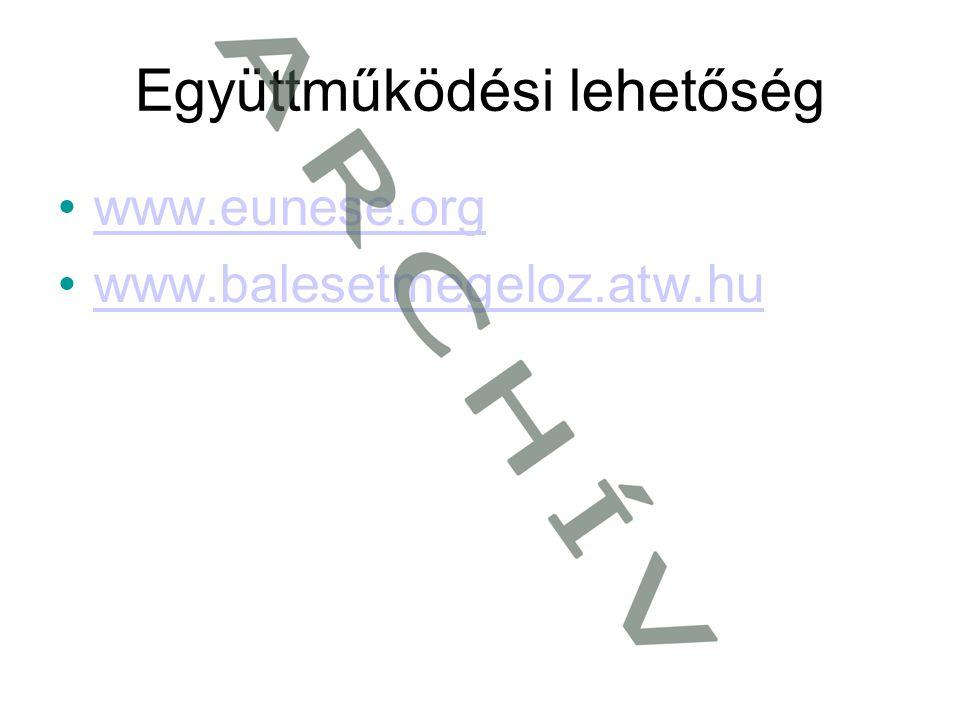 Együttműködési lehetőség •www.eunese.orgwww.eunese.org •www.balesetmegeloz.atw.huwww.balesetmegeloz.atw.hu