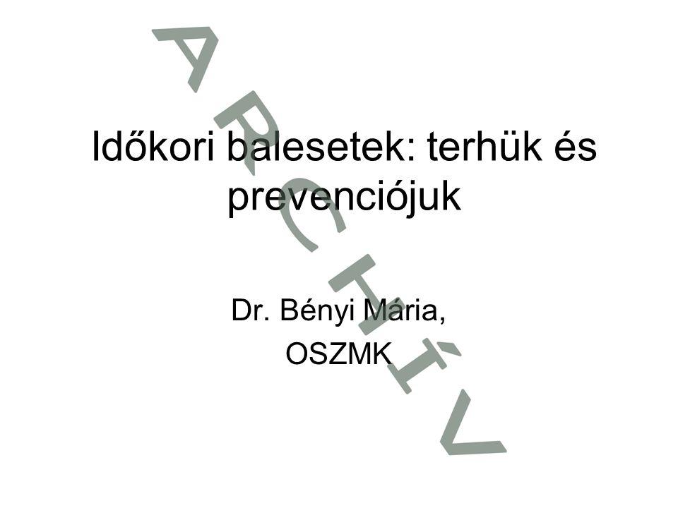 Időkori balesetek: terhük és prevenciójuk Dr. Bényi Mária, OSZMK