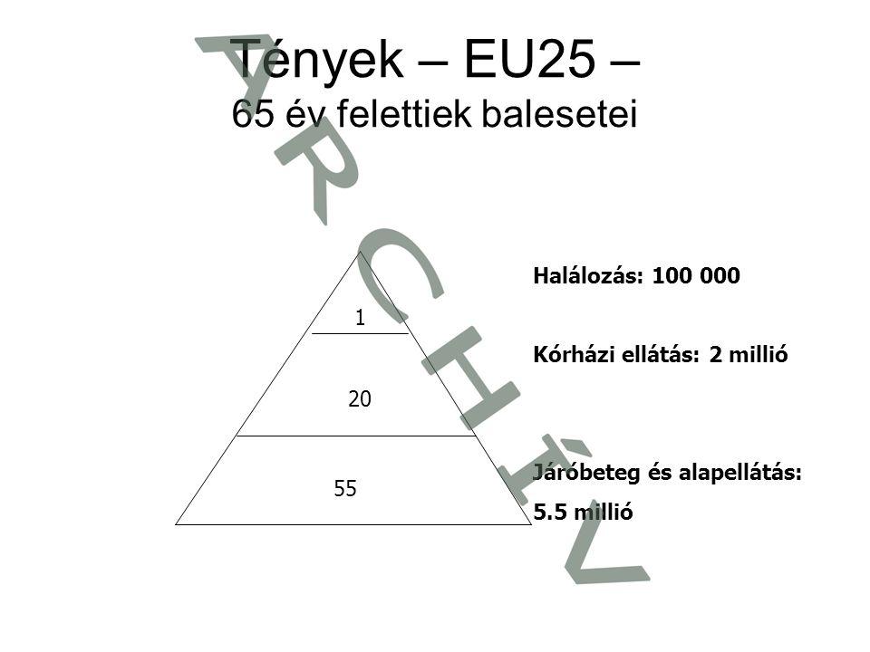 Tények – EU25 – 65 év felettiek balesetei Halálozás: 100 000 Kórházi ellátás: 2 millió Járóbeteg és alapellátás: 5.5 millió 1 20 55