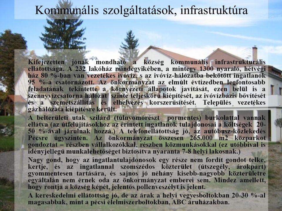 Kommunális szolgáltatások, infrastruktúra Kifejezetten jónak mondható a község kommunális infrastrukturális ellátottsága.
