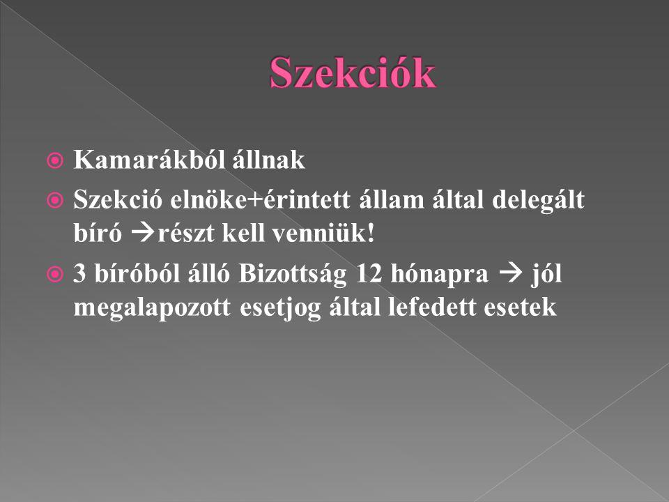  Kamarákból állnak  Szekció elnöke+érintett állam által delegált bíró  részt kell venniük!  3 bíróból álló Bizottság 12 hónapra  jól megalapozott