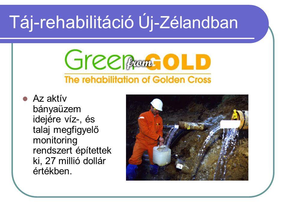 Táj-rehabilitáció Új-Zélandban  Az aktív bányaüzem idejére víz-, és talaj megfigyelő monitoring rendszert építettek ki, 27 millió dollár értékben.