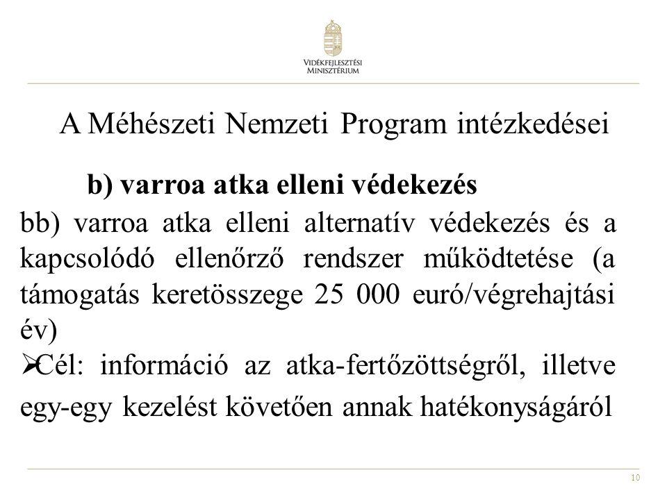 10 A Méhészeti Nemzeti Program intézkedései b) varroa atka elleni védekezés bb) varroa atka elleni alternatív védekezés és a kapcsolódó ellenőrző rend