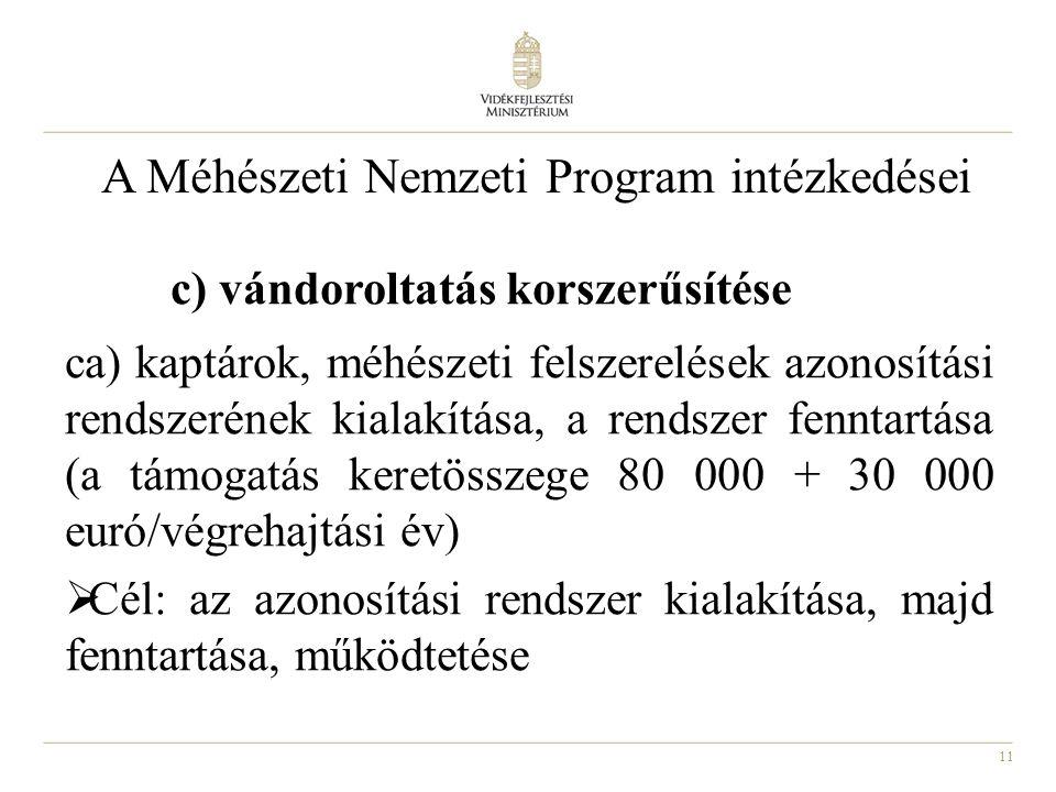 11 A Méhészeti Nemzeti Program intézkedései c) vándoroltatás korszerűsítése ca) kaptárok, méhészeti felszerelések azonosítási rendszerének kialakítása
