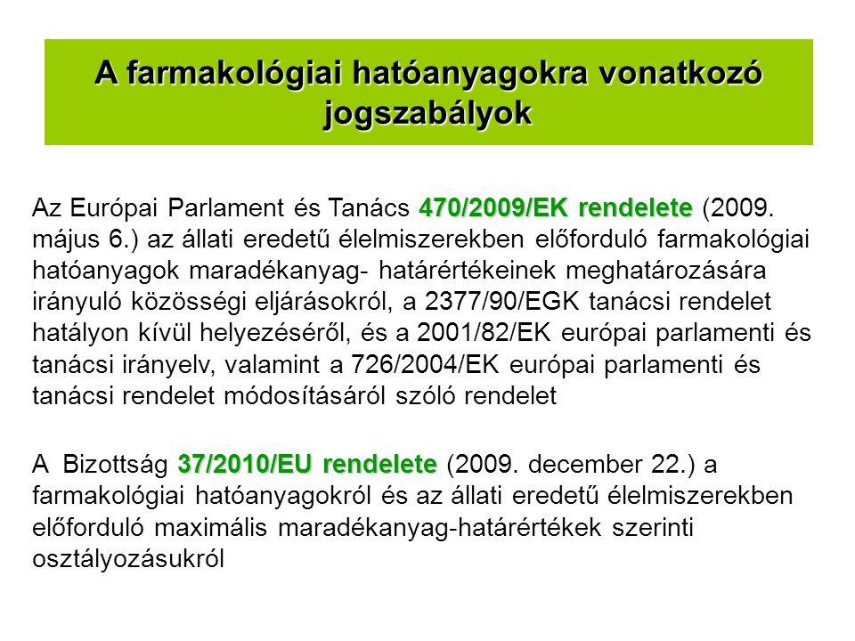 470/2009/EK rendelete Az Európai Parlament és Tanács 470/2009/EK rendelete (2009. május 6.) az állati eredetű élelmiszerekben előforduló farmakológiai