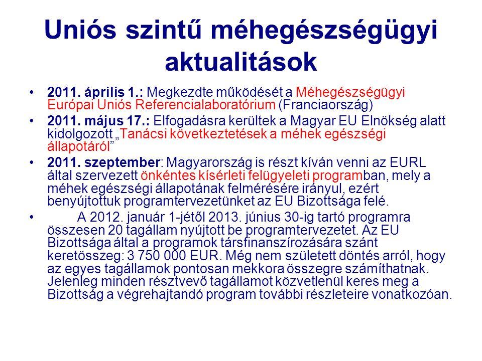 Uniós szintű méhegészségügyi aktualitások •2011. április 1.: Megkezdte működését a Méhegészségügyi Európai Uniós Referencialaboratórium (Franciaország