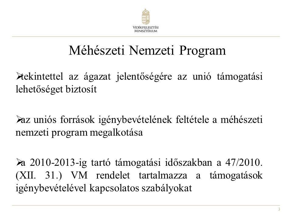 3 Méhészeti Nemzeti Program  tekintettel az ágazat jelentőségére az unió támogatási lehetőséget biztosít  az uniós források igénybevételének feltéte