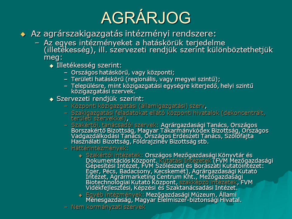 AGRÁRJOG  Az agrárszakigazgatás intézményi rendszere: –Az egyes intézményeket a hatáskörük terjedelme (illetékesség), ill. szervezeti rendjük szerint