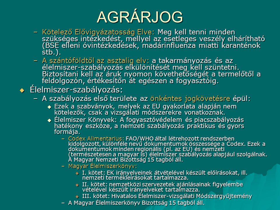 AGRÁRJOG –Kötelező Elővigyázatosság Elve: Meg kell tenni minden szükséges intézkedést, mellyel az esetleges veszély elhárítható (BSE elleni óvintézkedések, madárinfluenza miatti karanténok stb.).