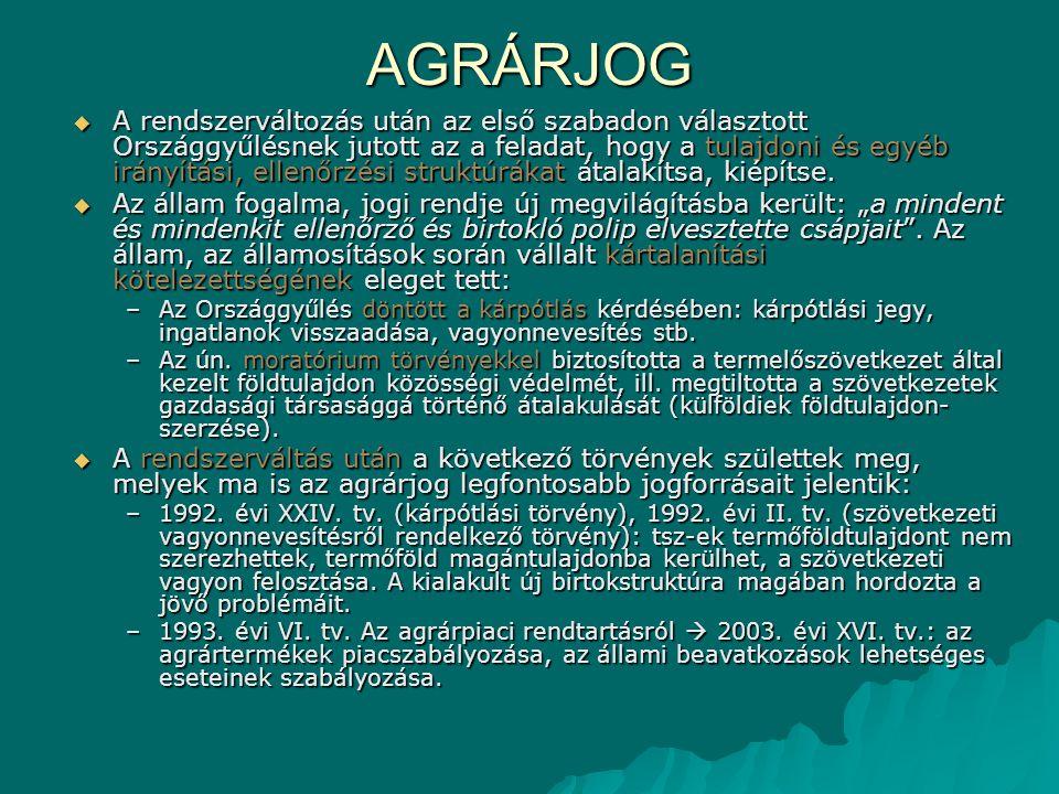 AGRÁRJOG –1993.évi CXIV. tv. az állattenyésztésről.