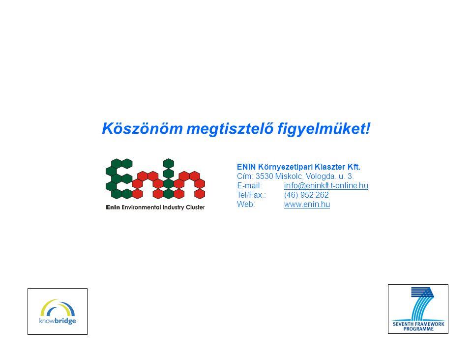 ENIN Környezetipari Klaszter Kft. Cím: 3530 Miskolc, Vologda.