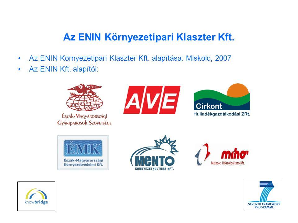 Az ENIN Környezetipari Klaszter Kft. •Az ENIN Környezetipari Klaszter Kft.