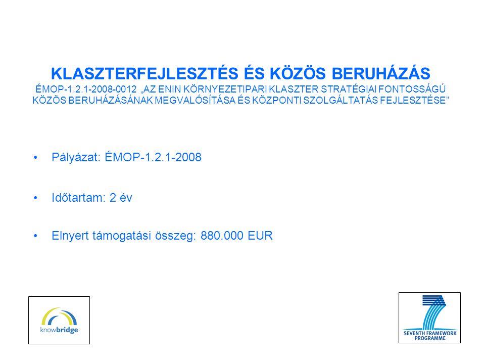 """•Pályázat: ÉMOP-1.2.1-2008 •Időtartam: 2 év •Elnyert támogatási összeg: 880.000 EUR KLASZTERFEJLESZTÉS ÉS KÖZÖS BERUHÁZÁS ÉMOP-1.2.1-2008-0012 """"AZ ENIN KÖRNYEZETIPARI KLASZTER STRATÉGIAI FONTOSSÁGÚ KÖZÖS BERUHÁZÁSÁNAK MEGVALÓSÍTÁSA ÉS KÖZPONTI SZOLGÁLTATÁS FEJLESZTÉSE"""