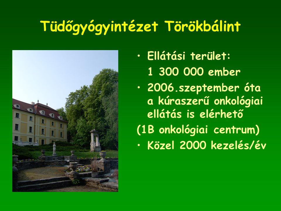 Tüdőgyógyintézet Törökbálint •Ellátási terület: 1 300 000 ember •2006.szeptember óta a kúraszerű onkológiai ellátás is elérhető (1B onkológiai centrum) •Közel 2000 kezelés/év