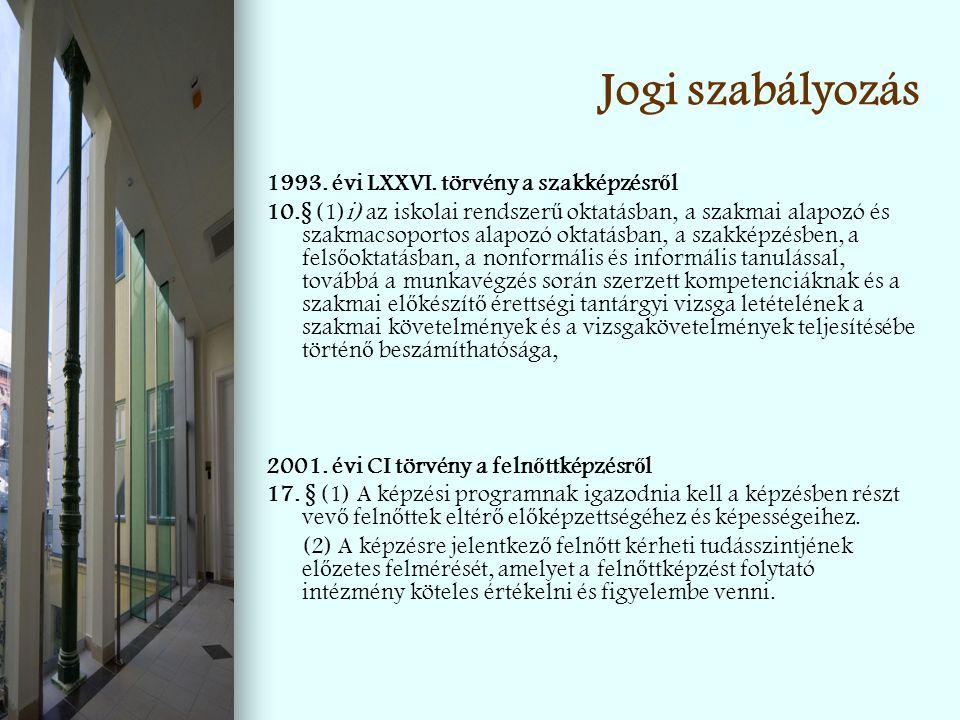 Jogi szabályozás 1993. évi LXXVI. törvény a szakképzésr ő l 10.§ (1)i) az iskolai rendszer ű oktatásban, a szakmai alapozó és szakmacsoportos alapozó