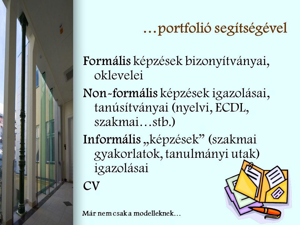 …portfolió segítségével Formális képzések bizonyítványai, oklevelei Non-formális képzések igazolásai, tanúsítványai (nyelvi, ECDL, szakmai…stb.) Infor