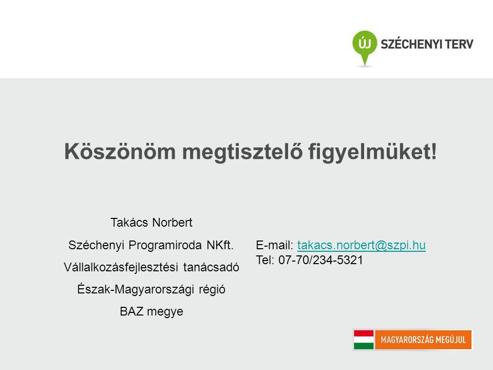 Köszönöm megtisztelő figyelmüket! Takács Norbert Széchenyi Programiroda NKft. Vállalkozásfejlesztési tanácsadó Észak-Magyarországi régió BAZ megye E-m