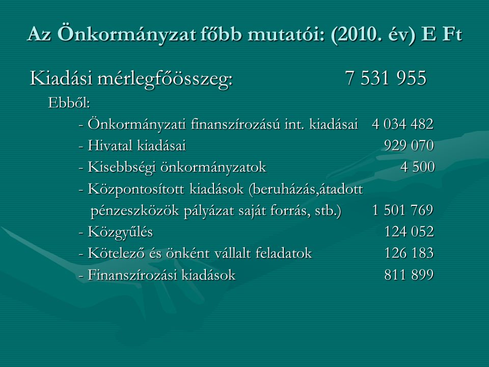 Kiadási mérlegfőösszeg: 7 531 955 Ebből: - Önkormányzati finanszírozású int. kiadásai4 034 482 - Hivatal kiadásai 929 070 - Kisebbségi önkormányzatok