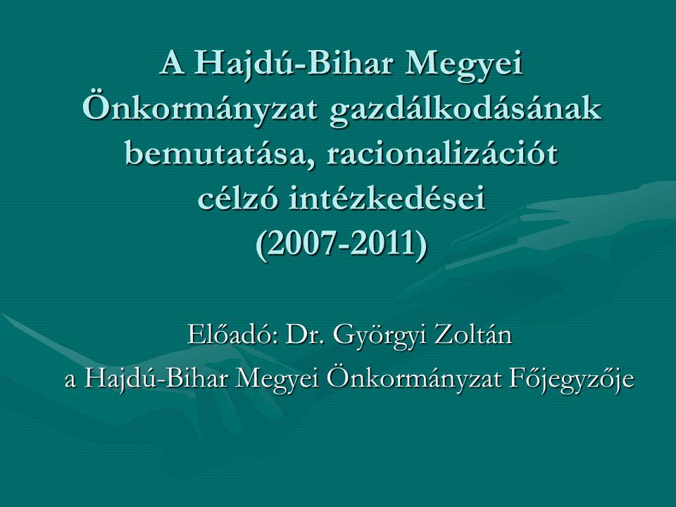 A Hajdú-Bihar Megyei Önkormányzat gazdálkodásának bemutatása, racionalizációt célzó intézkedései (2007-2011) Előadó: Dr. Györgyi Zoltán a Hajdú-Bihar