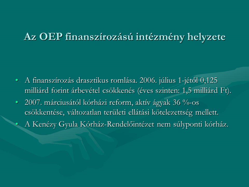 Az OEP finanszírozású intézmény helyzete •A finanszírozás drasztikus romlása. 2006. július 1-jétől 0,125 milliárd forint árbevétel csökkenés (éves szi