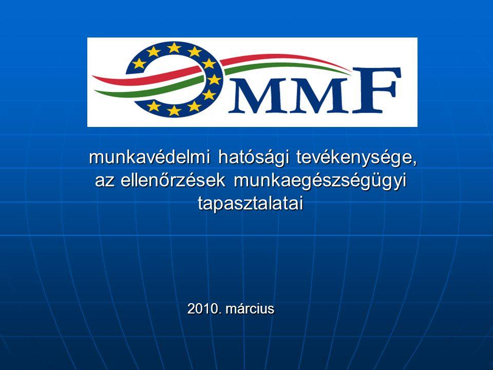 munkavédelmi hatósági tevékenysége, az ellenőrzések munkaegészségügyi tapasztalatai munkavédelmi hatósági tevékenysége, az ellenőrzések munkaegészségügyi tapasztalatai 2010.