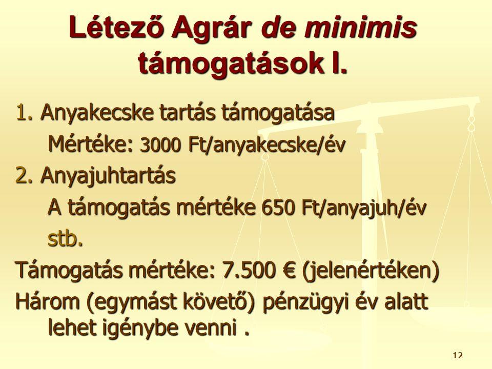 12 Létező Agrár de minimis támogatások I. 1. Anyakecske tartás támogatása Mértéke: 3000 Ft/anyakecske/év 2. Anyajuhtartás A támogatás mértéke 650 Ft/a