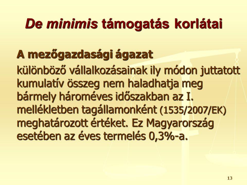 14 De minimis támogatás halászati ágazat esetén I.