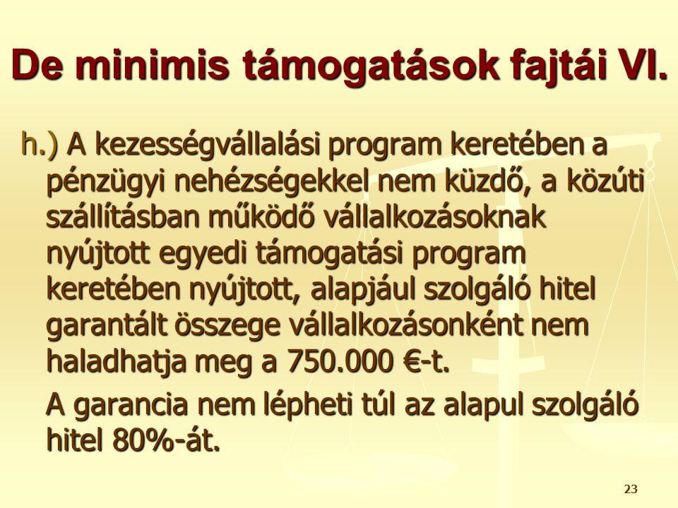 23 De minimis támogatások fajtái VI. h.) A kezességvállalási program keretében a pénzügyi nehézségekkel nem küzdő, a közúti szállításban működő vállal
