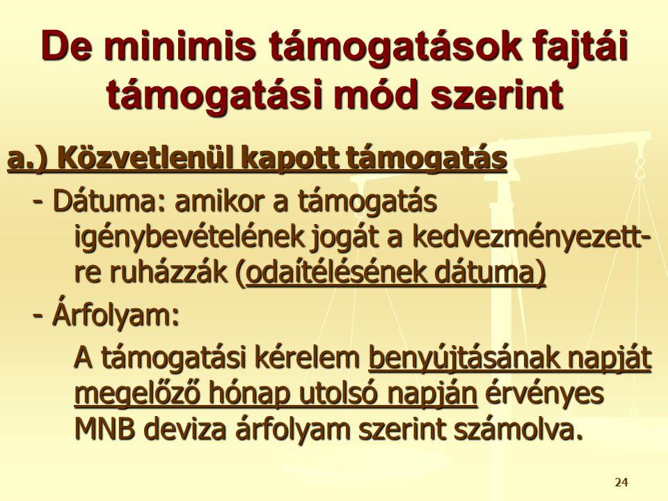 24 De minimis támogatások fajtái támogatási mód szerint a.) Közvetlenül kapott támogatás - Dátuma: amikor a támogatás igénybevételének jogát a kedvezm