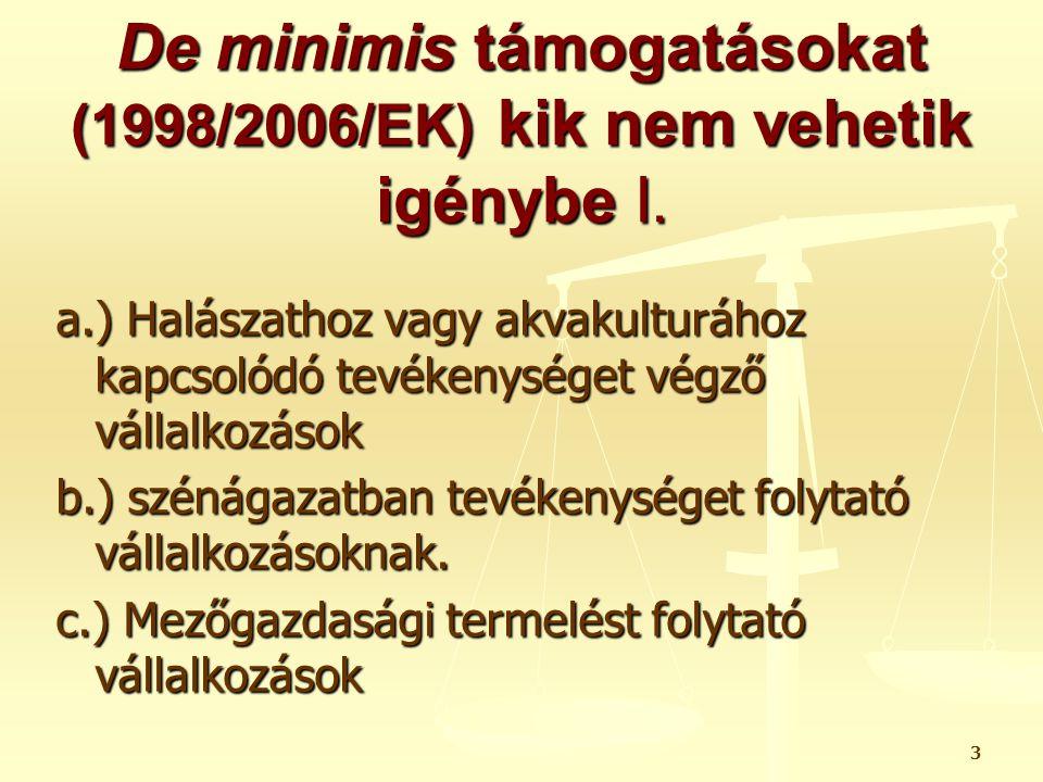 3 De minimis támogatásokat (1998/2006/EK) kik nem vehetik igénybe I. a.) Halászathoz vagy akvakulturához kapcsolódó tevékenységet végző vállalkozások