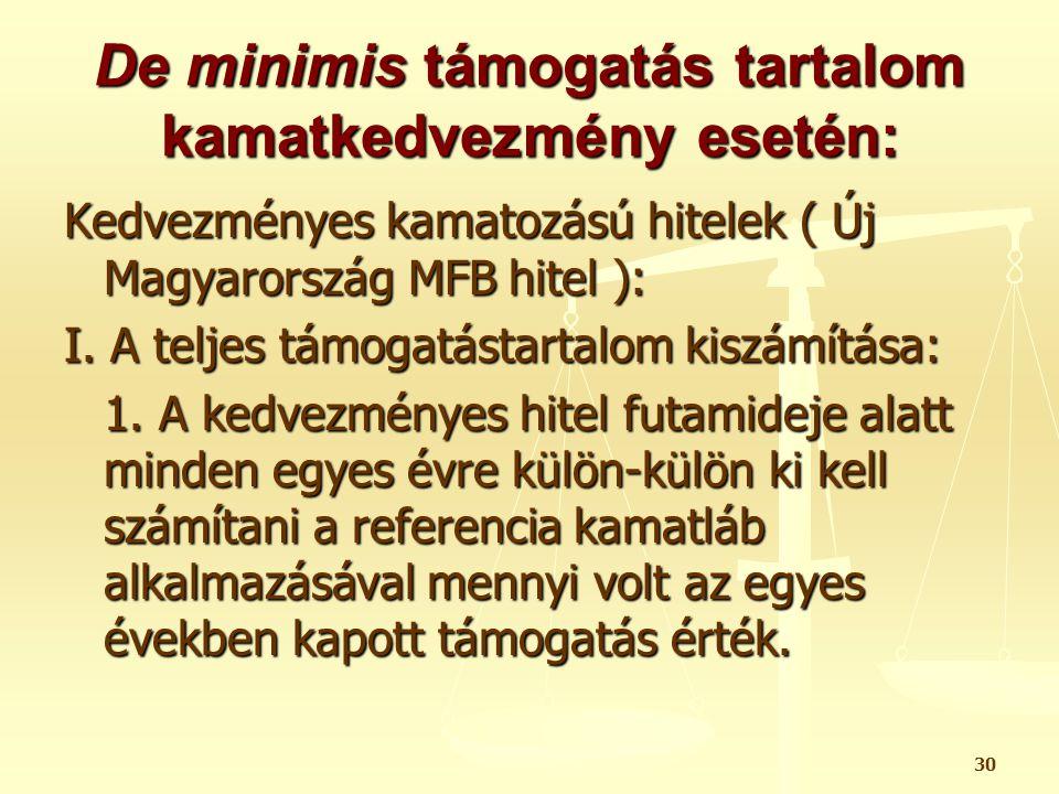 30 De minimis támogatás tartalom kamatkedvezmény esetén: Kedvezményes kamatozású hitelek ( Új Magyarország MFB hitel ): I. A teljes támogatástartalom
