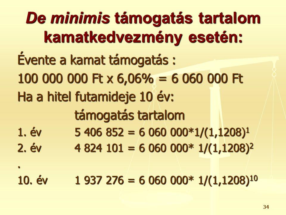 34 De minimis támogatás tartalom kamatkedvezmény esetén: Évente a kamat támogatás : 100 000 000 Ft x 6,06% = 6 060 000 Ft Ha a hitel futamideje 10 év: