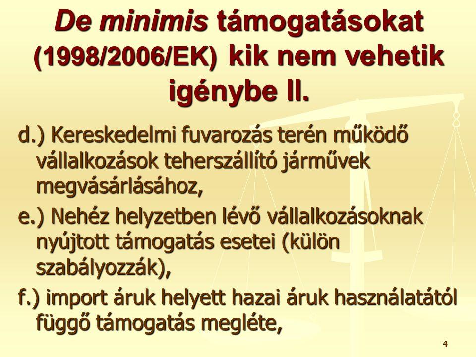 4 De minimis támogatásokat (1998/2006/EK) kik nem vehetik igénybe II. d.) Kereskedelmi fuvarozás terén működő vállalkozások teherszállító járművek meg