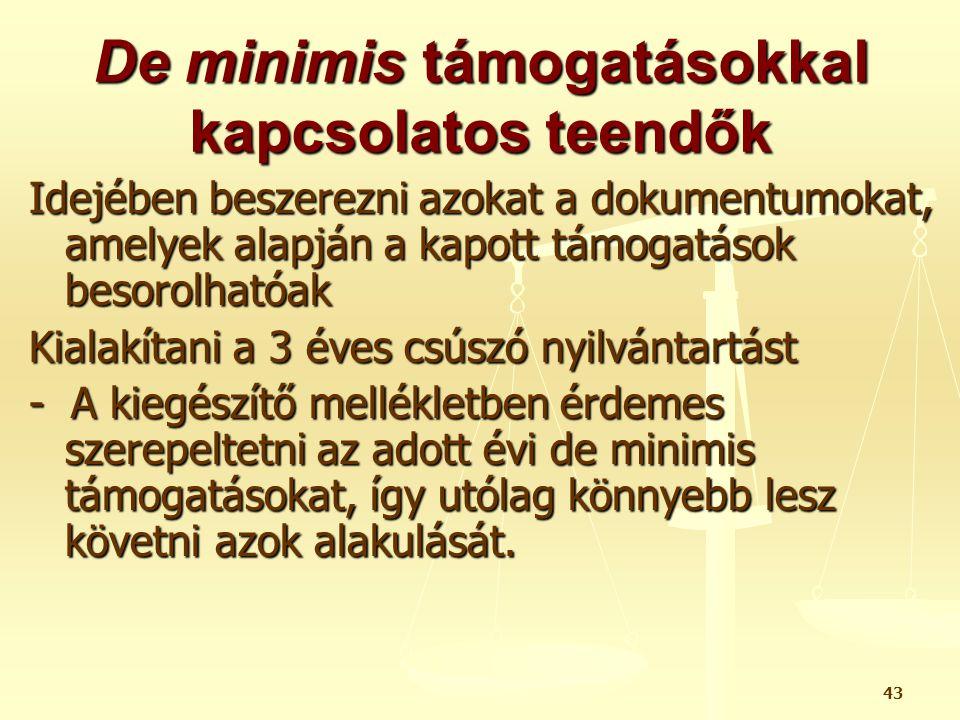 43 De minimis támogatásokkal kapcsolatos teendők Idejében beszerezni azokat a dokumentumokat, amelyek alapján a kapott támogatások besorolhatóak Kiala