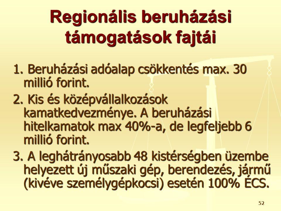 52 Regionális beruházási támogatások fajtái 1. Beruházási adóalap csökkentés max. 30 millió forint. 2. Kis és középvállalkozások kamatkedvezménye. A b