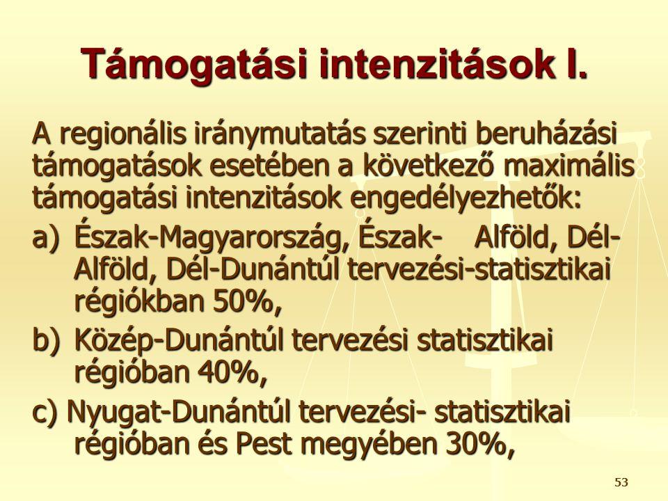 53 Támogatási intenzitások I. A regionális iránymutatás szerinti beruházási támogatások esetében a következő maximális támogatási intenzitások engedél