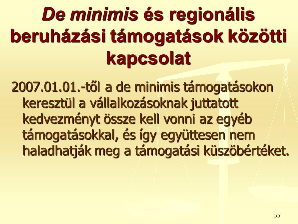 55 De minimis és regionális beruházási támogatások közötti kapcsolat 2007.01.01.-től a de minimis támogatásokon keresztül a vállalkozásoknak juttatott