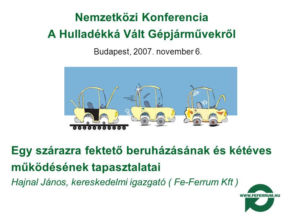 Nemzetközi Konferencia A Hulladékká Vált Gépjárművekről Budapest, 2007.
