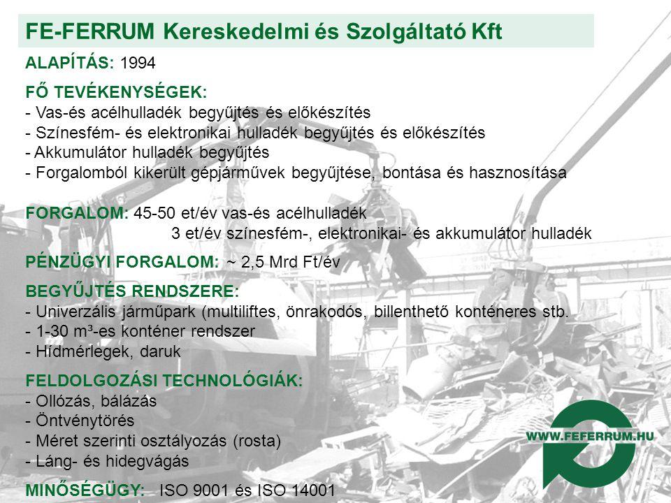 FE-FERRUM Kereskedelmi és Szolgáltató Kft ALAPÍTÁS: 1994 FŐ TEVÉKENYSÉGEK: - Vas-és acélhulladék begyűjtés és előkészítés - Színesfém- és elektronikai hulladék begyűjtés és előkészítés - Akkumulátor hulladék begyűjtés - Forgalomból kikerült gépjárművek begyűjtése, bontása és hasznosítása FORGALOM: 45-50 et/év vas-és acélhulladék 3 et/év színesfém-, elektronikai- és akkumulátor hulladék PÉNZÜGYI FORGALOM:~ 2,5 Mrd Ft/év BEGYŰJTÉS RENDSZERE: - Univerzális járműpark (multiliftes, önrakodós, billenthető konténeres stb.