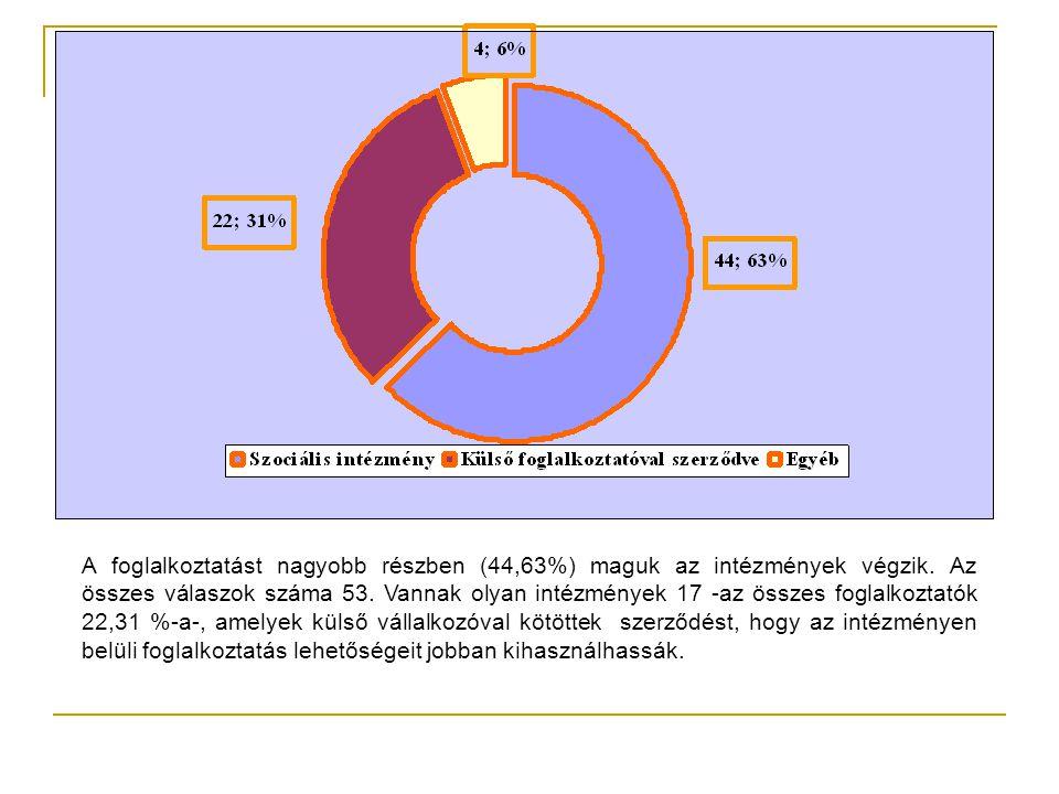 A foglalkoztatást nagyobb részben (44,63%) maguk az intézmények végzik.