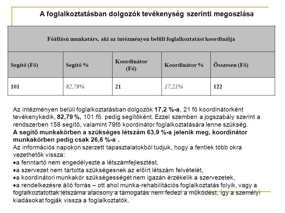 A foglalkoztatásban dolgozók tevékenység szerinti megoszlása Főállású munkatárs, aki az intézményen belüli foglalkoztatást koordinálja Segítő (Fő)Segítő % Koordinátor (Fő) Koordinátor %Összesen (Fő) 10182,79%2117,21%122 Az intézményen belüli foglalkoztatásban dolgozók 17,2 %-a, 21 fő koordinátorként tevékenykedik, 82,79 %, 101 fő pedig segítőként.