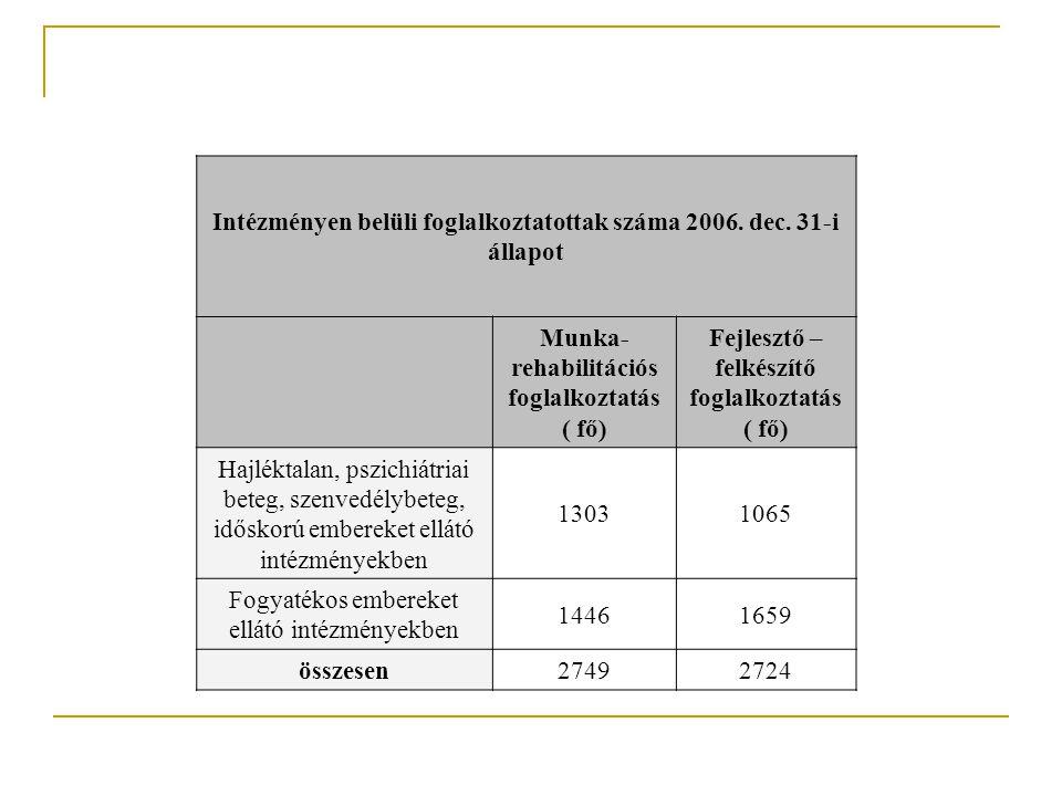 Intézményen belüli foglalkoztatottak száma 2006. dec.