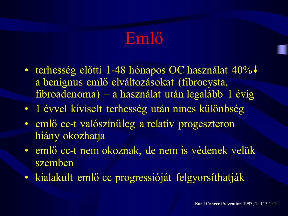 Emésztőrendszer •oestrogen-indukálta változások az epetermelésben és kiválasztásban •  epesav koncentráció a colonban •  colorectalis cc az OC-t has