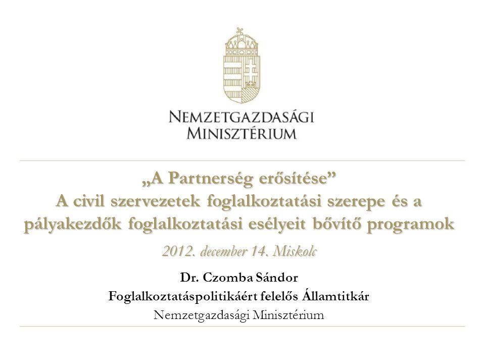 """""""A Partnerség erősítése"""" A civil szervezetek foglalkoztatási szerepe és a pályakezdők foglalkoztatási esélyeit bővítő programok 2012. december 14. Mis"""